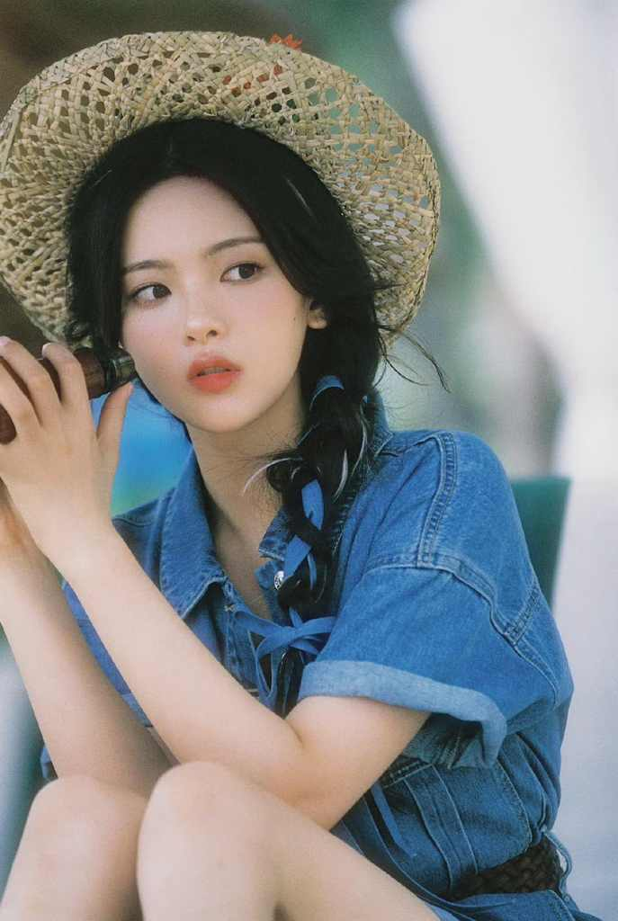 杨超越夏日沙滩蓝色牛仔套装再加草帽【4P】